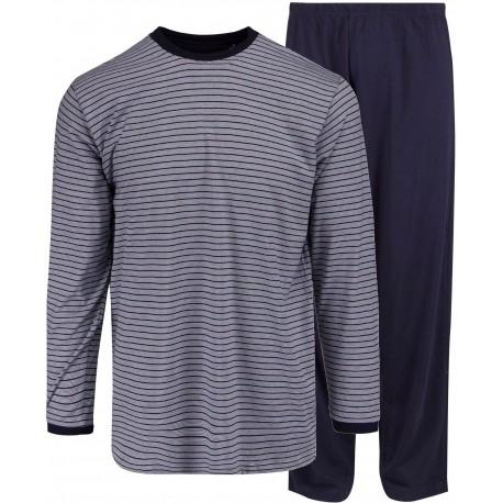 Ambassador Jersey pyjamat - sininen-raidallinen