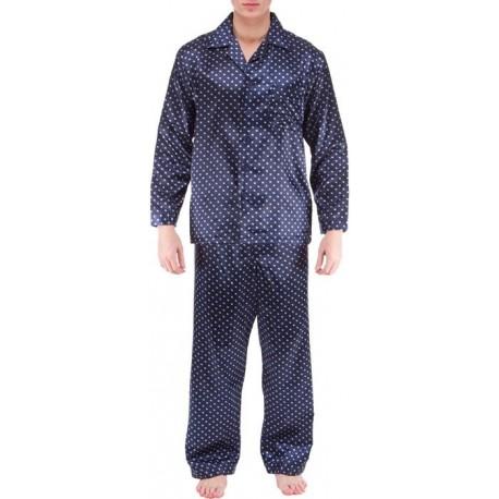 Sininen satiini pyjama Ambassador miehille 7b8877976b